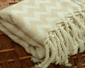 New with Small Weaving Defects - Personalized Handwoven Chevron Turkish Towel - Peshtemal Towel - Monogramming Embroidery - LIGHT BROWN