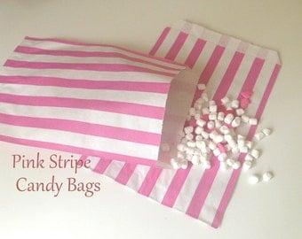 20 -  Traditional Sweet Shop  Pink  Candy Stripe Paper Bags - 5 x 7 Inches - Gifts and Packaging