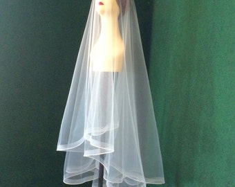 Horsehair Wedding Veil Pencil Edge Trim Knee Length  with Blusher Bridal Accessories