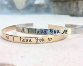 I Lava You, I Lava You Bracelet , Mother Daughter Bracelets, Hawaiian Jewelry, Hawaii Gifts,  Personalized Cuffs, Natashaaloha