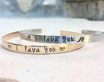 I Lava You, I Lava You Bracelet , Mother Daughter Bracelets, Hawaiian Jewelry, Hawaii Gifts, Toddler Bracelet, Personalized Cuffs, Natashaa