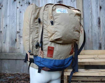 Vintage Small Early Winters Internal Frame Hiking Backpack Backpack Essential Alpine Hiker Mountaineering Camping Hike In Tan Blue Brown