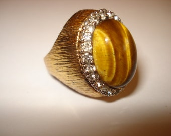 Vintage PANETTA Signed Tiger Eye Sterling Cocktail Ring 1960s Size 6.5
