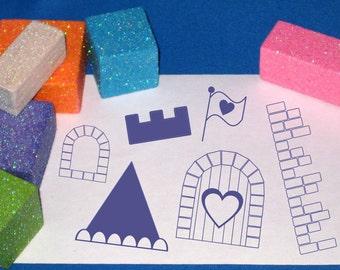 Princess Castle Stamp Set, Princess Gift idea, Castle Building Stamp Set, Gift for Girls, Gift for Princesses, Design Castle Kids Craft Kit