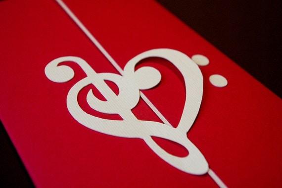 wedding invitation set, treble clef heart decoration, classic or, Wedding invitations