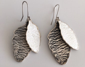 Silver earrings - Oxidized silver Leaf earrings - modern design - contemporary jewelry - Art jewelry