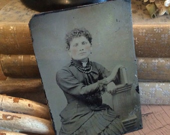She's A Tiny Little Women Antique Tin Type Photo