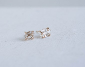 Herkimer Diamond and Solid 14k Recycled Gold Stud Earrings
