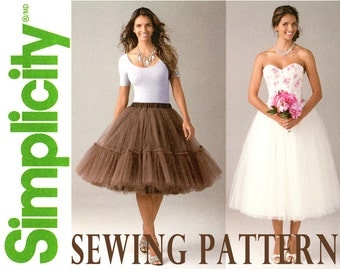 Tulle Skirt Pattern Uncut Simplicity 1427 Evening Skirt and Overskirt Bridal Wedding Ballet Tutu Prom Special Occasion Womens Sewing Pattern