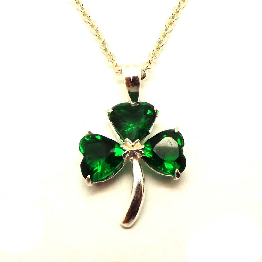 sterling silver shamrock necklace three leaf clover necklace