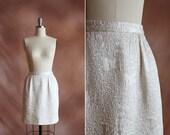 vintage 1960's cream textured woven tapestry mini bell skirt / size s