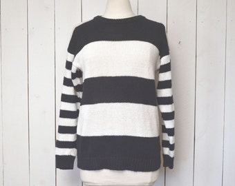 Black White Striped Sweater Early 90s Cotton Knit Vintage Pullover Small Medium