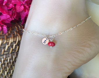 Best Gift Sterling Silver Anklet monogrammed charm tag and colorful bead. Adjustable up to 10 1/2 inches. Stamped ankle bracelet