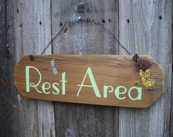Rest Area Garden Sign, Garden Decor, Hand Painted Sign, Home Decor Rest Area
