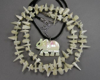 Vintage MOP Necklaces, Carved Elephant, Spike Necklace, Creamy White, Beach Wear, Good Luck, Resort Wear