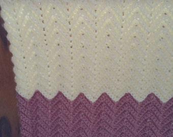Ripple Baby Afghan Rose and Cream - Ready to be Shipped