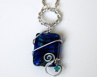 Teal and Blue Zebra Wrapped Pendant Necklace