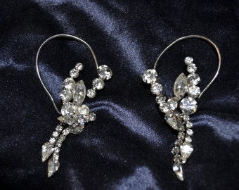 Gorgeous Vintage Large Rhinestone Ear Cuffs!  Must SEE!!