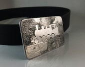 Railroad Enthusiast's Belt Buckle - Etched Stainless Steel - Handmade