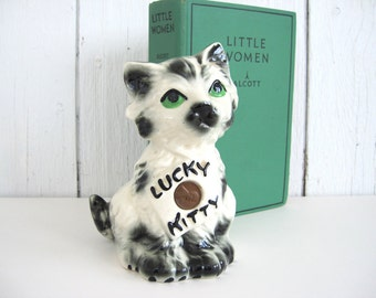 Vintage Ceramic Cat Figurine Bank Lucky Kitty Green Eye Black White Copper 1961 D Penny Full Cameo