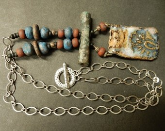 Contemporary urban tribal eclectic necklace... primitive collage....truly one of a kind..