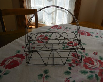 Vintage Metal Basket with Handle for Beverage Glasses Vases Excellent