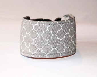 Italian Greyhound Dog Collar - Grey Quatrefoil -  in 3 styles - for information - scroll down for details - wide collar - martingale