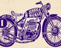 Motorcycle Wedding Invitation, Biker Bride, Budget Wedding Invitations, Custom Listing for jlm10003