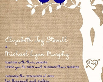 Rush Burlap and Blue Wedding Invitations - Custom Love Birds Wedding Invitations, Custom Listing for stovall578