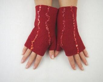 Felted Fingerless Gloves Fingerless Mittens Arm warmers Wristlets Merino Wool Red