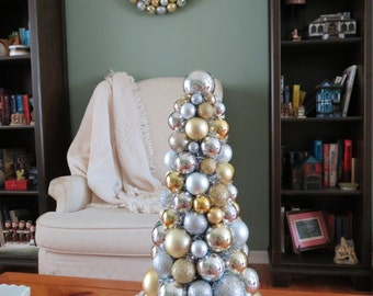 "Christmas TABLE TOP TREE 20""  Gold and Silver  Ornament Tree"