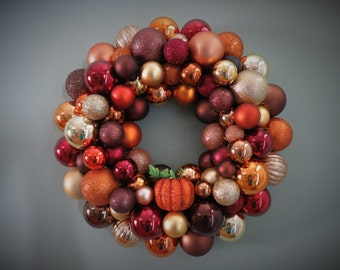 AUTUMN Wreath BROWN, Copper, Gold, Burgundy Ornament Wreath Fall Wreath with pumpkin