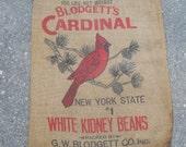 CUTEST EVER Vtg Gunny Sack/Burlap Bag-Blodgett's CARDINAL White Kidney Beans-New York State #1-Exceptionally Nice-Copyright 1939