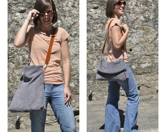 SUMMER leather shoulder bag - LUCI model in grey leather