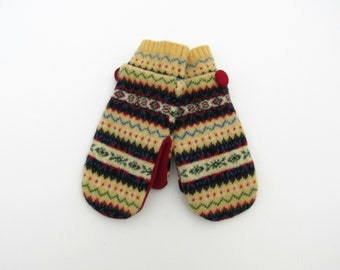 Felted Wool Mittens Fleece Lined Multi Colored Fair Isle in Yellow Red Blue Green and Black Recycled Wool Sweater Mittens