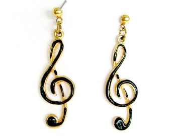 G Clef Earrings Black Enamel On Gold Pierced Posts Dangling