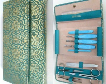 Ladies Vintage Toiletries Manicure Set Turquoise & Gold Carry Case German Made Tools