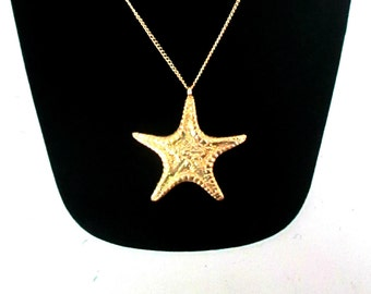 Gold Starfish Pendant Necklace Summer Jewelry