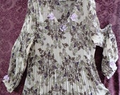 TUNiC  Top - Short DRESS  = Crinckled Paisley Print - Upcycled with Lace and Flowers - Size 2XL