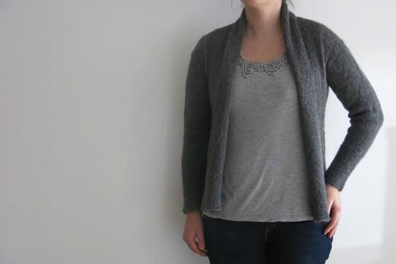 PATTERN grey shawl front cardigan knitting pattern - textured sweater knitting pattern - wrap front alpaca silk knit