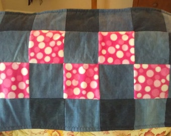 Pink Polka Dot Mini Baby Quilt/Changing Pad