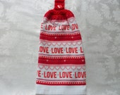Hanging Double Kitchen Towel  Love and Hearts Valentine Towel Heart Towel Crochet Hanging Kitchen Towel
