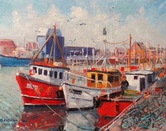 Original oil painting. Howth Trawlers and Lobster Pots, Dublin, Ireland. Oil on canvas panel 16x12 inches by Bill O'Brien