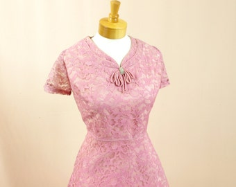 50s Dress * 1950s Dress * Bubble Gum Pink Dress * 50s Cocktail Dress * 1950s Party Dress * Pink Lace Dress * Wedding Dress