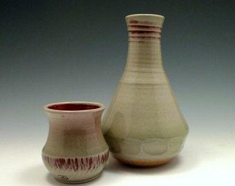 Porcelain Sake Flask Tsuru-kubi/Menturi and Shihu-hai Guinomi
