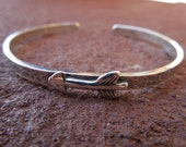Sterling Silver Artisan Littler Arrow Cowgirl Cuff Bracelet - Hammered Sterling