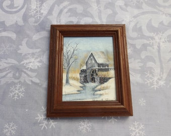 20th C. Delightful antique signed Oil Painting on canvas stretched on board.Miniature. Landscape mill. Home Office decor.Wall hanging. Gift