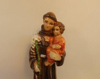 "Sale Magnificent Vintage ceramic figurine of Saint Anthony Infant Jesus Religious Statue St Anthony Child Jesus Vintage Figure. 8""H. Gift"