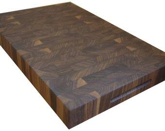 "Walnut End Grain Cutting Board 2""  Personalized Butcher Block"