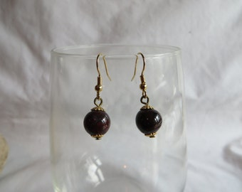 Brown Marble Earrings on Gold Ear Wires